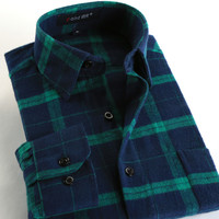 New Fashion 2017 Fall Winter Men Casual Plaid Shirt Long Sleeve Slim Fit Flannel Man Clothes Mens Shirts (Many Colors Available)