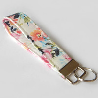 Floral Key Fob / White Floral Keychain / Pretty Key Chain / Wrist Lanyard / Wristlet / Keychain Lanyard / Back to School / Pink  Flowers