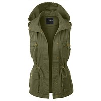 Drawstring Waist Hoodie Military Anorak Vest with Pockets