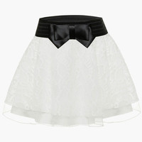 Waist Bow Tie Floral Lace Skater Skirt