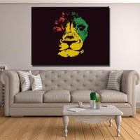 Dark Rasta Lion Canvas Set