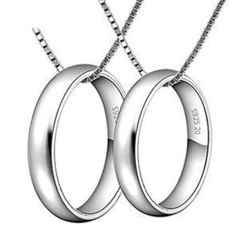 Sterling Silver Personalized Engravable Rings Couple Necklace - GULLEITRUSTMART