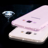 KISSCASS A5 A7 Glitter Diamond Clear TPU Rubber Case For Samsung Galaxy A7 A700 A5 A5000 Slim A5 A7 Transparent Back Couqe Cover