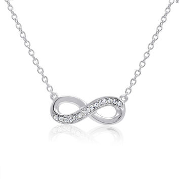 Sterling Silver Crystal Infinity Necklace made with Swarovski Elements