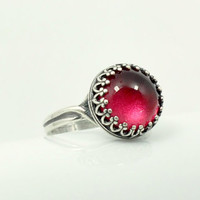 Antique Silver Crown Red Ring, Adjustable Glass Dome Ring