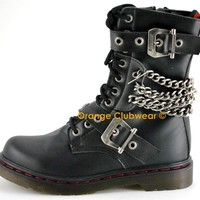 DEMONIA DISORDER-204 Punk Gothic Womens Ankle Hi Chained Combat Goth Boots Shoes