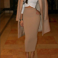 Elegant Beige High Waist Bodycon Pencil Long Skirt
