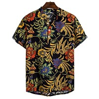 Mens Hawaiian Shirt Dark Autumn Leaves Print Short Sleeve Shirt