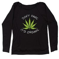 Don't Panic, It's Organic Pot Leaf Slouchy Off Shoulder Oversized Sweatshirt