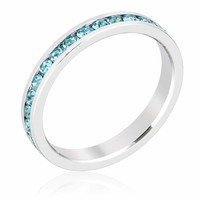 Stylish Stackables Aquamarine Crystal Ring JGI
