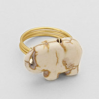 Elephant Gold Ring Ivory