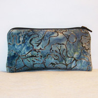 "Funky Blue Seaweed Print Cotton Padded Pipe Pouch 5.5"" / Glass Pipe Case / Spoon Cozy / Piece Protector / Pipe Bag / SMALL"