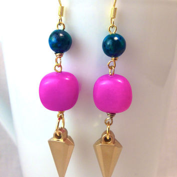 On Sale- Pink Passion Spike Earrings