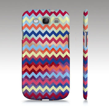 Samsung Galaxy S3 case, Zigzag colorful chevron watercolor pattern design, trendy hipster fashion style, art for your phone