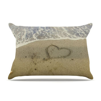 "Debbra Obertanec ""Beach Heart"" Sand Coastal Pillow Case"