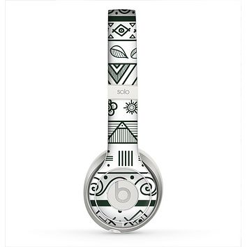 The Black & White Floral Aztec Pattern Skin for the Beats by Dre Solo 2 Headphones