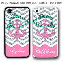 PERSONALIZED PINK CHEVRON BLUE ANCHOR Best Friends FOR iPhone 6 6S 4 5S 5C CASE