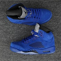 Air Jordan 5 Retro Blue Suede Game Royal Basketball shoes