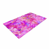 "Ebi Emporium ""Bloom On! Pink "" Purple Abstract Woven Area Rug"