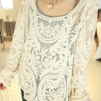 $ 22.99 Ericdress Hollow Lace Blouse