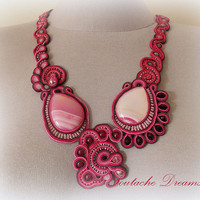 "Radiant pink necklace with agate gems ""Rose Sky"" perfect for spring and summer days or Gift for her"