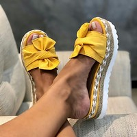 Summer new style hemp rope thick-soled bow mid-heel women's fabric slippers