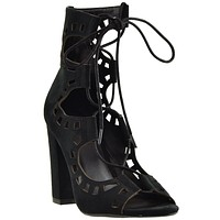 Womens Ankle Boots Lace Up Ghillie High Heel Shoes black