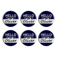 Oliver Hello My Name Is Plastic Resin Button Set of 6