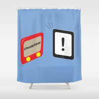 Tablet father Shower Curtain by Tony Vazquez