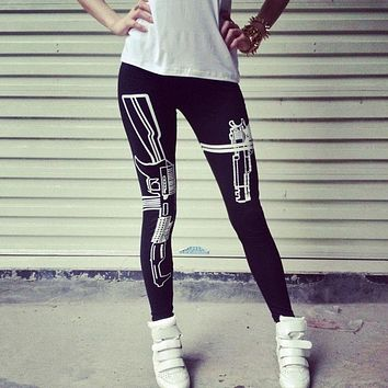 Machine Gun/Work Out  Print pants Pencil Fit leggings Pants Workout Work Out and Just Do It  Print  Leggings