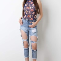 Ripped Faded Denim Crop Jeans