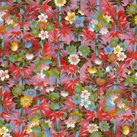 Chiyogami - Bamboo & Blossoms on Red (1/2 sheet)