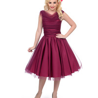 Unique Vintage 1950s Style Plum First Date Swing Dress