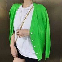 Women Fashion Casual Simple Vintage Embroidery Solid Color Long Sleeve V-Neck Cardigan Buttons Knitwear