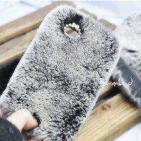 Luxury Top Quality Fur iPhone 4 case, iPhone 4s case, Grey Fur iPhone 5 Case, Furry iPhone cover, Warm Fur, rabbit skin iPhone cover
