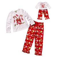 Dollie & Me® Holiday Candy Cane and Friends 4-Piece Pajama Set