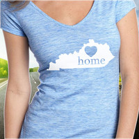 Kentucky Home T-Shirt - V-Neck - State Pride - Home Tee - Clothing - Womens - Ladies