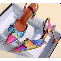 Women Pointed Toe Buckle Strap Casual Pumps