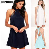 2017 summer new sleeveless lace lace strap halter hanging neck A word dress Vestidos Mujer Sundress