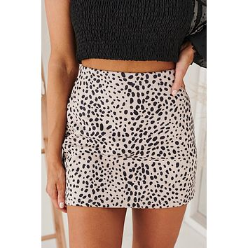 Turn Up The Sass Spotted Mini Skirt (Taupe/Black Animal)