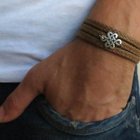 Men's Bracelet - Brown Fabric Bracelet With Silver Plated Infinity Pendant - Men's Jewelry - Infinity Jewelry - Love Jewelry - Gift for Him