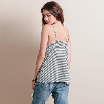 Summer Hot Beach Bralette Comfortable Stylish Stripes Print Sexy Deep V Spaghetti Strap Tops Vest [4920345348]