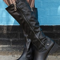 Tall Trendsetter Dual Zip Riding Boots - Black