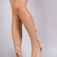 Lace Up Ankle Tie Pointy Toe Flat