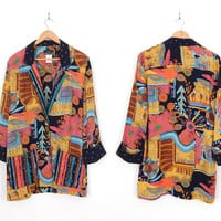 Vintage 80s 90s Oversized Abstract Print Womens Blazer - Size 4 Small - Carole Little Rayon Jacket in Gold, Pink, Turquoise, and Black
