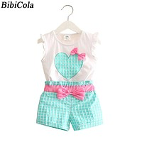 new summer Baby girls Bow Clothing Set infant Children Suit Set 2 PCs Lattice Pants toddler kids Girls clothes Sets