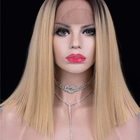 Middle Dark Rooted Gold Ombre Straight Synthetic Lace Front Wig
