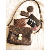 Inseva Louis Vuitton LV Classic Retro Women Leather Handbag Wallet Key Pouch Crossbody Satchel Shoulder Bag