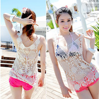 Sleeveless Crochet Cutout Beach Cover Up Knitted Top