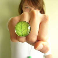 Retro Vintage Green Leaf Ring